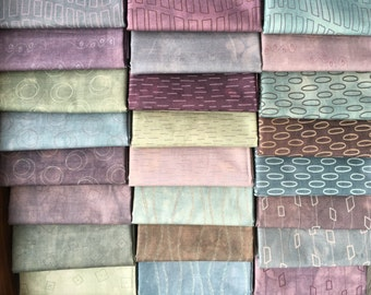 Whisper by Janine Burke for Riverwoods Fabrics - Modern Muted Purple, Blue, Green, Browns - 24 Fat Quarter Bundle