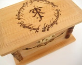 Wedding Ring Box - Lord of the Rings Inspired Wedding - Ring Bearer Box - Engraved Wooden Box - Rustic Ring Box - Unique Wedding Gift - LOTR
