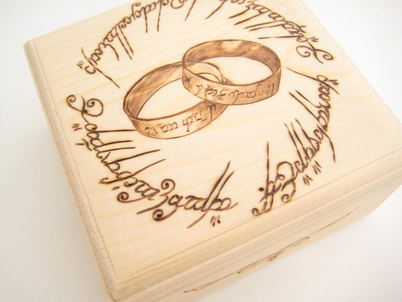 wedding ring box lord of the rings ring bearer box wooden ring box - Lord Of The Rings Wedding Ring