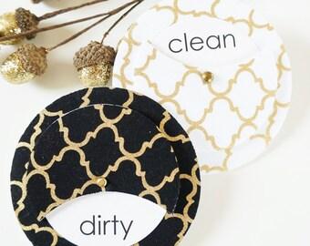Kitchen Magnet for Dishwasher | Clean Dirty Dishwasher Magnet | White and Gold Decor | Dirty Dishes Magnet | Metallic Kitchen Decor
