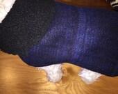 SALE Washable blue plaid wool sweater knit Small Dog Jacket