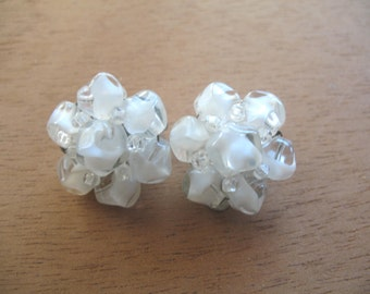 Vintage Cluster Earrings ~ Clip On ~ White Givre Glass Beads