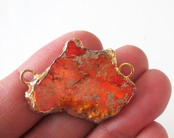 Tangerine Orange Jasper Slice Connector - 2 Loop Impression Jasper Link - Gold Edged Gemstone - Double Bail Focal Pendant - DIY Jewelry