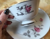 Talk Less Smile More Tea Cup and Saucer Set Hamilton Theme