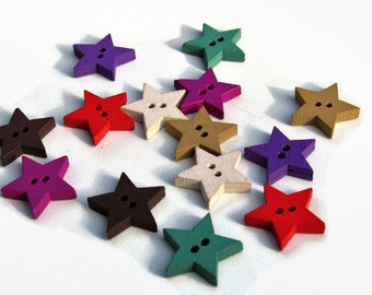 15 star  wood buttons 18mm- assorted colours- mixed pack