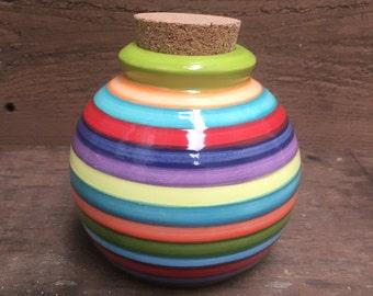 Colorful Rainbow Striped Ceramic Jar with Cork Lid - Apple Green Interior