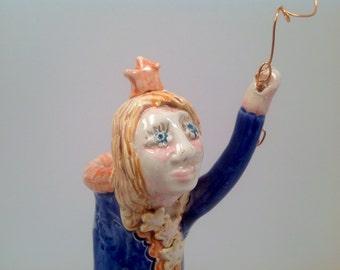 Fairy vase/vase/fairy/fairies/bud vase/lady figurine/stars/handmade vase/pottery vase/ceramic vase/vase with a face