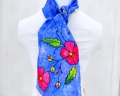 Hand Painted Silk Scarf, Floral Scarf, 60 x 11 inches, Made in Australia, Ready to Ship, Gift for Her, SallyAnnesSilks  HP10