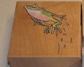 Penny Black Toadily Happy Frog Jumping Rubber Stamp