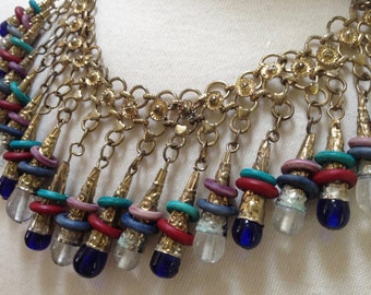 Festoon Fringe Ethnic Glass brass Rings Haskell Inspired Necklace – 1970s Boho Gypsy Jewelry