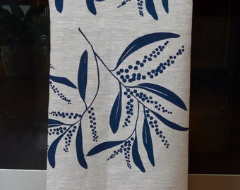 Linen Tea Towel Screen Printed Tea Towel Hand Printed Navy&Natural Australian Wattle