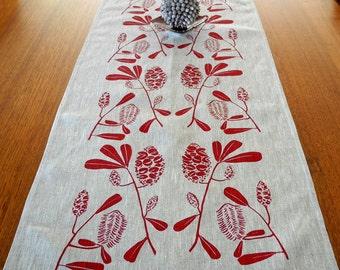 Linen Table Runner Hand Screen Printed Red&Natural Australian Banksia