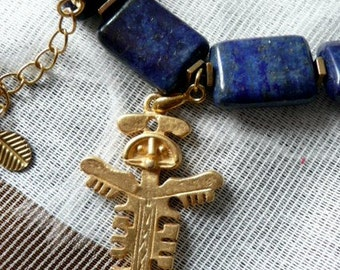 New! Necklace ,Lapis lazuli beads,Aztec angel pendant