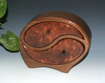 Handmade Yin Yang Wood Jewelry Box in Walnut with Redwood Burl, Artistic Box, Wood Stash Box ,Handmade Wooden Jewelry Box by BurlWoodBox,Box