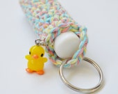 Crochet Chapstick Holder Keychain with Duck Charm