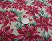Poinsettia Fabric, Christmas Fabric, 1 and a Half Yard, Red Poinsettia Fabric, Berries and Flowers, Calico Material, Cotton, Ecru Green Red