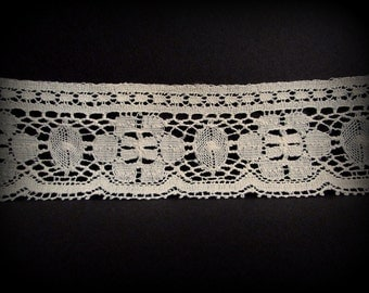 Eggshell Trim, 2 in Wide Ecru Trim, Ecru Lace Trim, Ecru Bridal Trim, Wedding Trim, 12 yd and 24 in, Bone Trim, Scallop Lace Trim, Cream