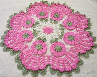 pink crocheted doily gift home decor handmade in USA original design