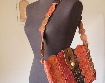 END of SUMMER SALE Boho Gypsy... Vintage 70's Leather Shoulder Bag, Woven, Brown, Rust, Black, Tan, Hippie Festival Style