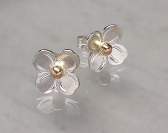 On Sale- Tiny Dogwood Stud Earrings Rose Gold