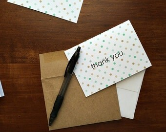 Polka Dot Thank You Notes - Modern Thank You Cards, Mint Tan Beige Dots, Neutral Stationery, Note Card Set Polka Dots, Wedding Baby Shower