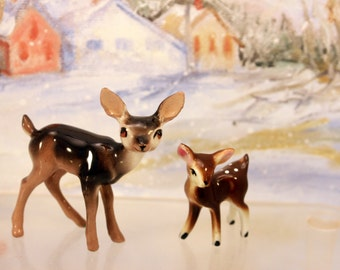 Porcelain Deer & Fawn Miniature Figurines Woodland Animal Christmas Scene Hagen Renaker   T