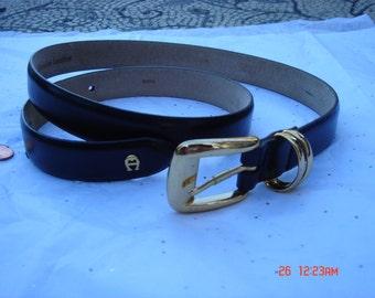 Vintage Black Leather Etienne Aigner Belt  - Nice