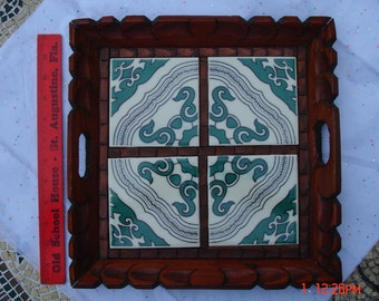 Vintage  Hand Carved Wood and Ceramic Tile Tray - Boho Chic