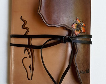 Leather Journal Cover Hand Tooled and Hand Written, African Design