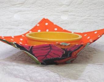 Padded Bowl Cozy - Cotton fabric bowl cozy - Microwave Bowl Cozy - Ice Cream Bowl Cozy  Floral Cosie  Padded Bowl Cozy Microwave Bowl Holder