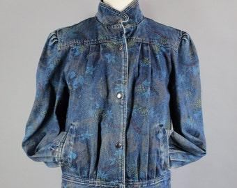 Vintage 80s 1980s Women's Printed Snaps New Wave Fall Denim Jean Jacket