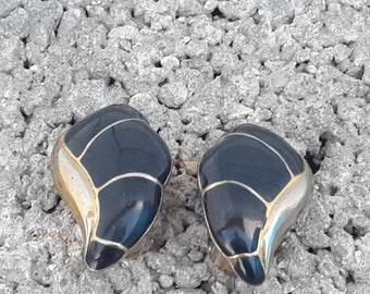 vintage Earrings 80s / Earrings Clip vintage 80s / Earrings 80s gold plat/Earrings 80s With blue enamel / Free fast shipping