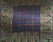 Lush Floral Paisley Plaid Wool Chalice Vintage LANVIN Scarf