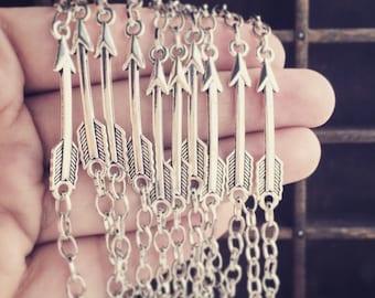 TEN Bracelets Arrow / Wholesale / Handmade / Antique Silver / Boho Hippie Jewelry Layering Resale Lot / Archery LARP Group / bridesmaids