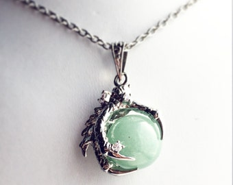 Dragon Claw Necklace  / Pick Your Length / Aventurine Green Dragon Claw Pendant Silver Renaissance Faire Festival Costume Dragonlord Orb