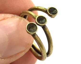 Adjustable Ring Blank, (4mm blank ) Antique Bronze Plated Brass G5632