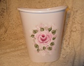 Cottage Victorian Chic Hand Painted Pink  Rose Trash Waste Basket New