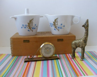 Melmac Creamer Sugar Set with Lid, Dorchester Dinnerware, Stackable, White Blue Gold Leaf Design