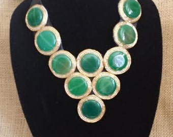Statement Bib / Dress Necklace Jade Natural Gemstone OOAK Necklace