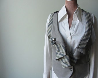 Repurposed Gray Ruffle Front Waistcoat detailed with Vintage Necktie, Grey Steampunk Vest, Repurposed Necktie Vest, Steampunk Waistcoat