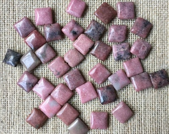 10mm Square Rhodonite - 35 beads