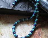 Reserved for RJ--Viking Blue -- Norse Dragon Trinity Sword Sterling Pendant - Lapis Amazonite Turquoise Necklace