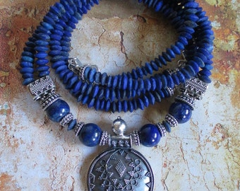Lapis Lazuli double strand Sterling Necklace - genuine Lapis gemstones Sterling bali beads