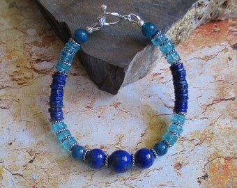 Tropical Fling -- Lapis Apatite genuine Sterling Bracelet- blue tropical