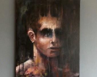 Original Untitled Macabre Portrait oil painting