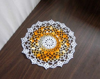 Golden Yellow Crochet Lace Doily, Table Accessory, Modern Home Decor, Handmade