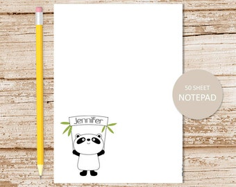 panda notepad . personalized panda bear note pad . girls stationery . stationary