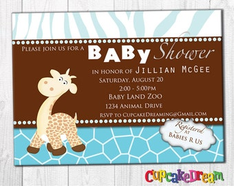Giraffe Baby Shower Invitation, Boy Baby Shower