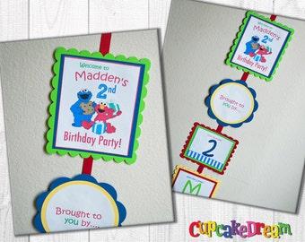 Sesame Street Birthday Banner, Welcome Sign, Elmo, Cookie Monster
