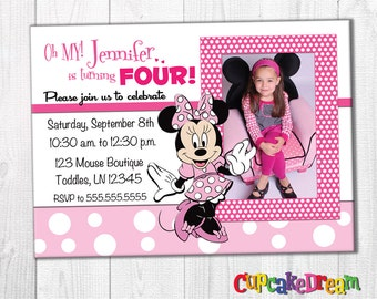 Minnie Mouse Invitation, Minnie Mouse Birthday